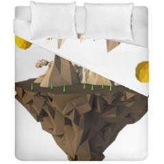 Low Poly Floating Island 3d Render Duvet Cover Double Side (california King Size)