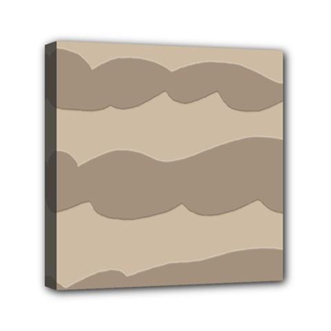 Pattern Wave Beige Brown Mini Canvas 6  X 6  by Amaryn4rt