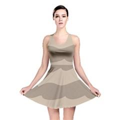 Pattern Wave Beige Brown Reversible Skater Dress