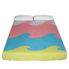 Wave Waves Pink Yellow Blue Fitted Sheet (queen Size) by Jojostore