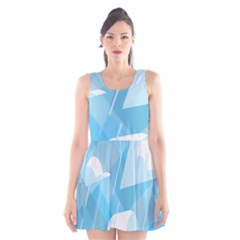 Blue Sky Scoop Neck Skater Dress by Jojostore
