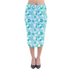 Blue Floral Flower Velvet Midi Pencil Skirt by Jojostore