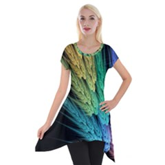 Abstract Fractal Short Sleeve Side Drop Tunic by Jojostore