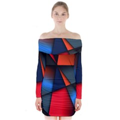 3d And Abstract Long Sleeve Off Shoulder Dress by Nexatart