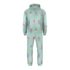 Butterfly Pastel Insect Green Hooded Jumpsuit (Kids) by Nexatart