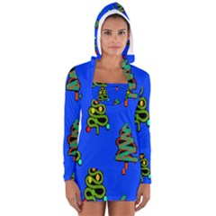 Christmas Trees Women s Long Sleeve Hooded T-shirt by Nexatart