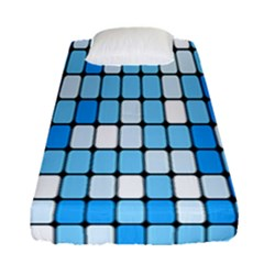 Ronded Square Plaid Blue Fitted Sheet (single Size) by Jojostore