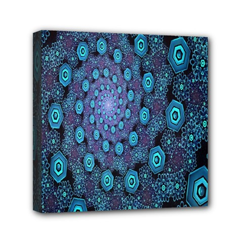 Illusion Spiral Rotation Shape Purple Flower Mini Canvas 6  X 6  by Jojostore