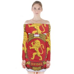 Coat of Arms of Bulgaria (1948) Long Sleeve Off Shoulder Dress by abbeyz71