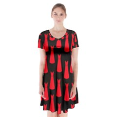 Dresses Seamless Pattern Short Sleeve V Neck Flare Dress by Nexatart