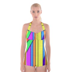 More Color Abstract Pattern Boyleg Halter Swimsuit  by Nexatart