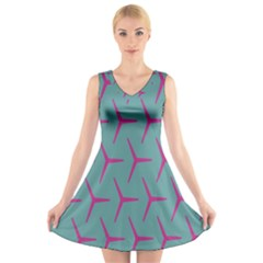 Pattern Background Structure Pink V-Neck Sleeveless Skater Dress by Nexatart
