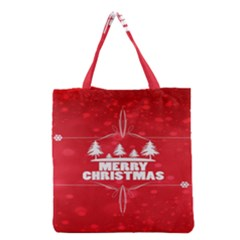 Red Bokeh Christmas Background Grocery Tote Bag