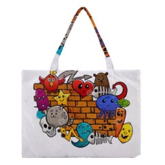 Graffiti Characters Flat Color Concept Cartoon Animals Fruit Abstract Around Brick Wall Vector Illus Medium Tote Bag by Foxymomma