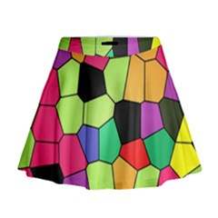 Stained Glass Abstract Background Mini Flare Skirt by Nexatart