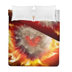 Arts Fire Valentines Day Heart Love Flames Heart Duvet Cover Double Side (full/ Double Size)