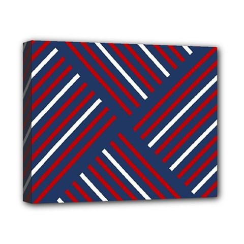 Geometric Background Stripes Red White Canvas 10  x 8