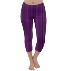 Deep purple lines Capri Winter Leggings  by Valentinaart