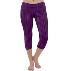 Deep purple lines Capri Yoga Leggings by Valentinaart
