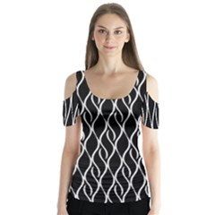 Elegant black and white pattern Butterfly Sleeve Cutout Tee  by Valentinaart