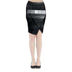 Grayscale Test Pattern Midi Wrap Pencil Skirt