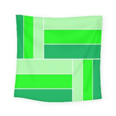 Green Shades Geometric Quad Square Tapestry (small) by Nexatart