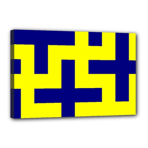 Pattern Blue Yellow Crosses Plus Style Bright Canvas 18  X 12  by Nexatart