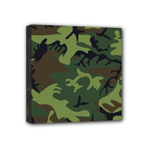 Camouflage Green Brown Black Mini Canvas 4  X 4  by Nexatart