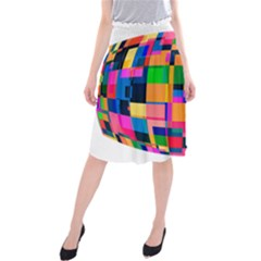 Color Focusing Screen Vault Arched Midi Beach Skirt by Nexatart