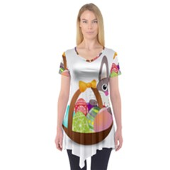 Easter Bunny Eggs Nest Basket Short Sleeve Tunic  by Nexatart