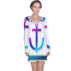 Icon Anchor Containing Fixing Long Sleeve Nightdress by Nexatart