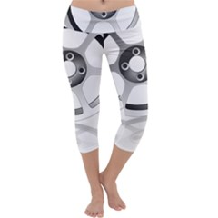 Car Wheel Chrome Rim Capri Yoga Leggings by Nexatart