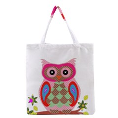 Owl Colorful Patchwork Art Grocery Tote Bag
