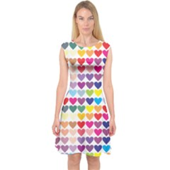 Heart Love Color Colorful Capsleeve Midi Dress by Nexatart