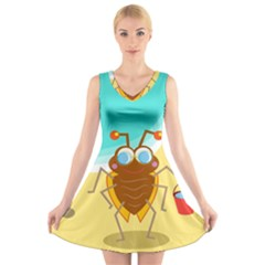 Animal Nature Cartoon Bug Insect V Neck Sleeveless Skater Dress by Nexatart