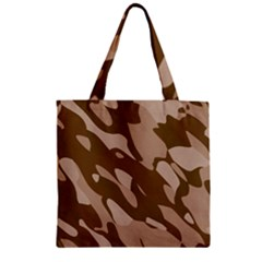 Background For Scrapbooking Or Other Beige And Brown Camouflage Patterns Zipper Grocery Tote Bag by Nexatart