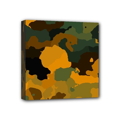 Background For Scrapbooking Or Other Camouflage Patterns Orange And Green Mini Canvas 4  X 4  by Nexatart