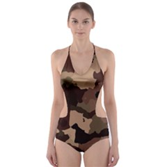 Background For Scrapbooking Or Other Camouflage Patterns Beige And Brown Cut Out One Piece Swimsuit by Nexatart
