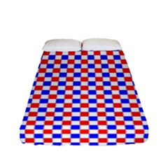 Blue Red Checkered Fitted Sheet (full/ Double Size) by Nexatart