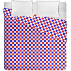 Blue Red Checkered Duvet Cover Double Side (king Size) by Nexatart