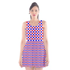 Blue Red Checkered Scoop Neck Skater Dress by Nexatart