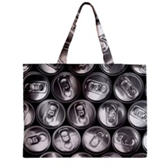 Black And White Doses Cans Fuzzy Drinks Medium Tote Bag by Nexatart