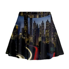 Building And Red And Yellow Light Road Time Lapse Mini Flare Skirt by Nexatart