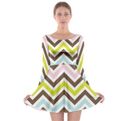 Chevrons Stripes Colors Background Long Sleeve Skater Dress