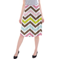 Chevrons Stripes Colors Background Midi Beach Skirt by Nexatart