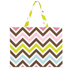 Chevrons Stripes Colors Background Large Tote Bag