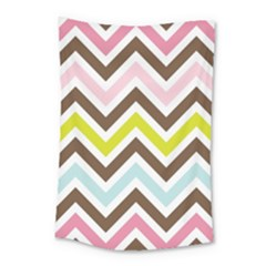 Chevrons Stripes Colors Background Small Tapestry by Nexatart