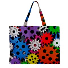 Colorful Toothed Wheels Zipper Mini Tote Bag by Nexatart
