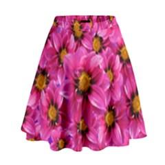 Dahlia Flowers Pink Garden Plant High Waist Skirt by Nexatart
