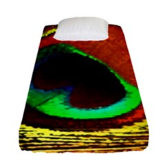 Peacock Feather Eye Fitted Sheet (single Size) by Nexatart